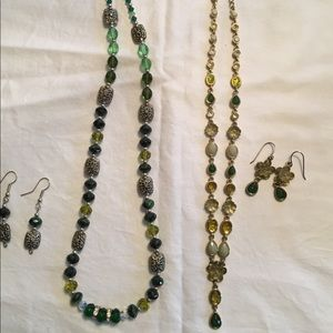 Jewelry - Green beaded, costume necklaces with earrings